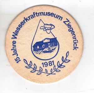 BD Alter DDR Bierdeckel 15 Jahre Wasserkraftmuseum Ziegenrück 1981 Thüringen