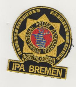 AUFNÄHER STOFF PATCH INTERNATIONAL POLICE ASSOCIATION IPA BREMEN