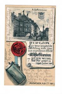AK München Prägedruck Lithographie Königliches Hofbräuhaus Bier Diplom 1907