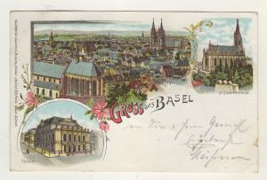 AK Schweiz Lithographie Gruss aus Basel Theater St. Elisabethen Kirche 1898