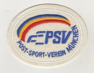 Stoff Aufnäher Patches PSV Post Sportverein München Fussball Verein / Weiss