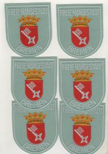 6 x Behörden Uniform Stoff Aufnäher Patch Freie Hansestadt Bremen