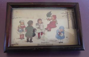 Puppenstuben Bild Holzrahmen Herzlichen Weihnachts Gruß 8,5 cm x 6 cm