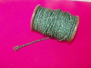 Kordel leonisches Gespinst Grün/Silber Holzrolle