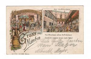 AK München Königliches Hofbräuhaus Lithographie Bier Preis Liter 24 Pfennig