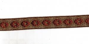 Bordüre Tresse Mittelalter Trachten golden rot weiß 30mm 2 Meter