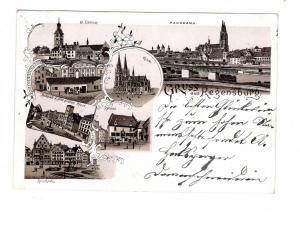 AK Oberpfalz Regensburg Lithographie 1898 Wurstküche - Hotel Goldenes Kreuz