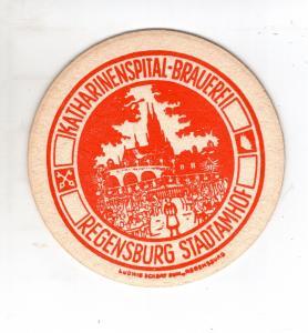 BD Alter Bierdeckel Kathrinenspital Brauerei Regensburg Stadtamhof Impressum
