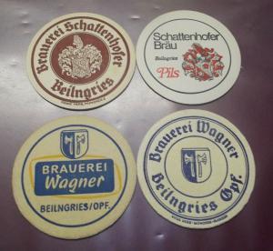 BD Alte Bierdeckel 4 x Beilngries Brauerei Schattenhofer & Wagner