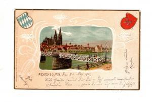 AK Oberpfalz Regensburg Prägedruck Passepartout Lithographie Wappen 1901