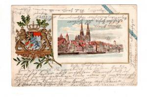 AK Oberpfalz Regensburg Prägedruck Passepartout Lithographie Wappen