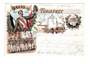 AK Gruss vom Turnfest Gut Heil Vater Jahn Lithographie 1902
