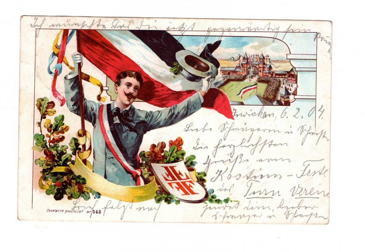 AK Studenten Karte Student Stempel Zwickau Sachsen 1912 0