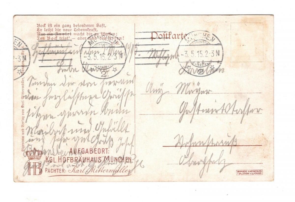 AK Oberbayern Königliches Hofbräuhaus München Lithographie 1915 1