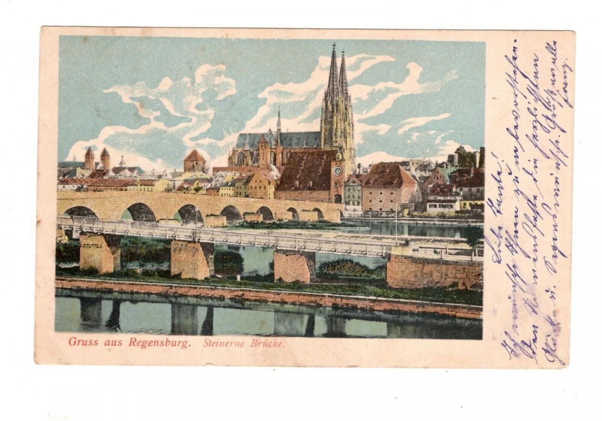 AK Oberpfalz Regensburg Steinerne Brücke Lithographie 1903 0