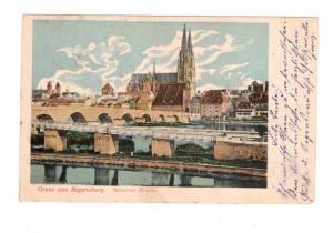 AK Oberpfalz Regensburg Steinerne Brücke Lithographie 1903