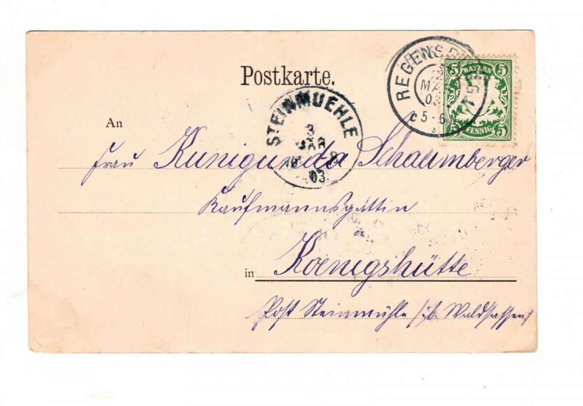 AK Oberpfalz Regensburg Steinerne Brücke Lithographie 1903 1
