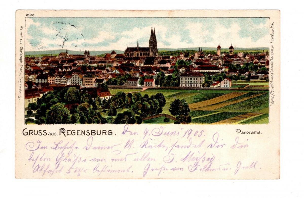 AK Oberpfalz Regensburg Panorama Lithographie 1905 0