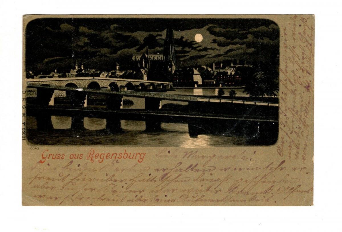 AK Oberpfalz Regensburg Mondscheinkarte Lithographie 1899 0