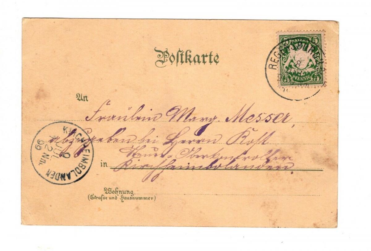 AK Oberpfalz Regensburg Mondscheinkarte Lithographie 1899 1