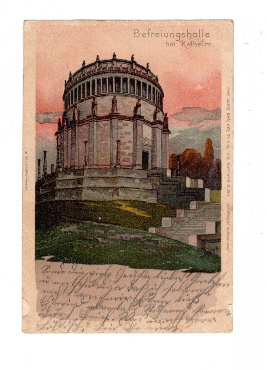 AK Niederbayern Befreiungshalle bei Kelheim 1901 Lithographie 0