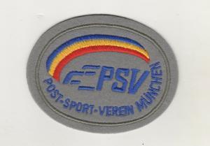 Stoff Aufnäher Patches PSV Post Sportverein München Fussball Verein / Grau
