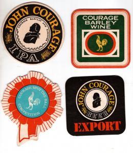 BD Alte Bierdeckel 4 x Großbritannien Brauerei John Courage Beer Ale