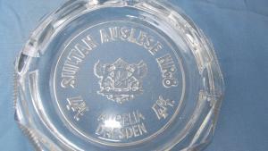 Werbe Aschenbecher Glas Sultan Auslese 4 Pf. Aurella Dresden Zigaretten