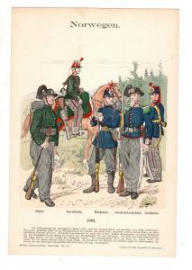 Original Grafik Knötel Uniformkunde Norwegen Uniform 1863