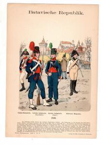 Original Grafik Knötel Uniformkunde Batavische Repulik Uniform 1801 Holland