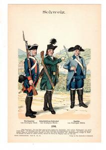 Original Grafik Knötel Uniformkunde Schweiz Uniform 1792 Scharfschützen Kapitän