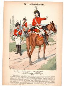 Original Grafik Knötel Uniformkunde Kur Sachsen Chevaulegers Uniform 1802