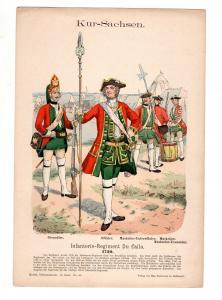 Original Grafik Knötel Uniformkunde Kur Sachsen Infanterie Regiment Du Caila