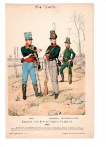 Original Grafik Knötel Uniformkunde Sachsen Uniform 1811 Deutschland