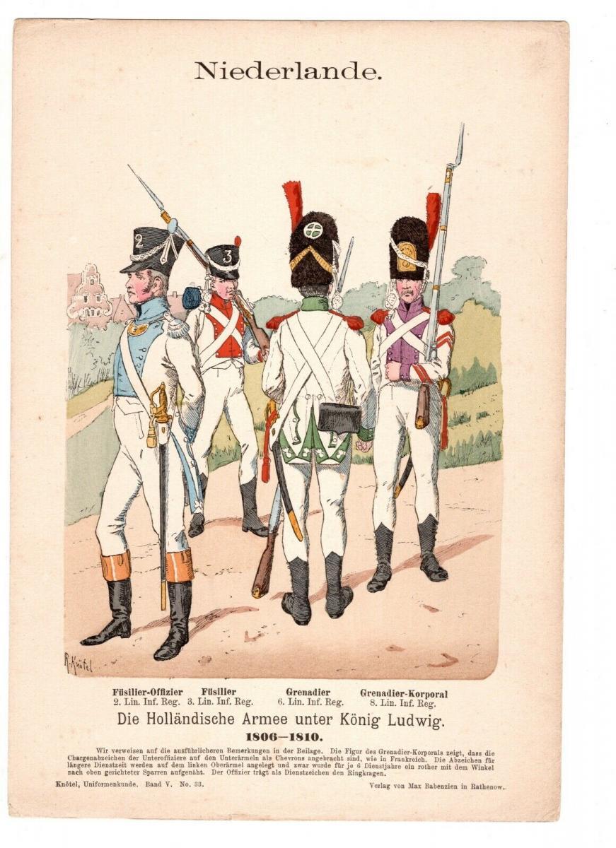 Original Grafik Knötel Uniformkunde Niederlande Holländische Armee 1806 #3 0