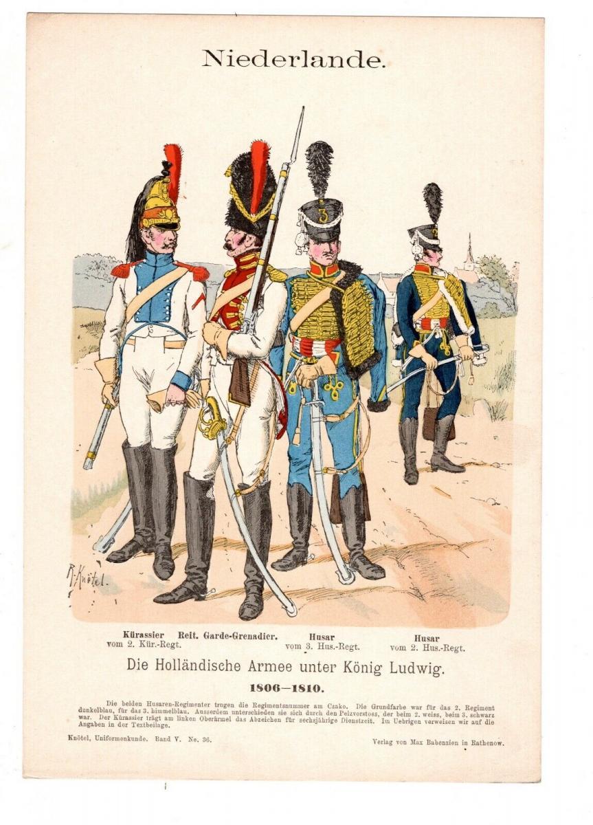 Original Grafik Knötel Uniformkunde Niederlande Holländische Armee 1806 Husar 0