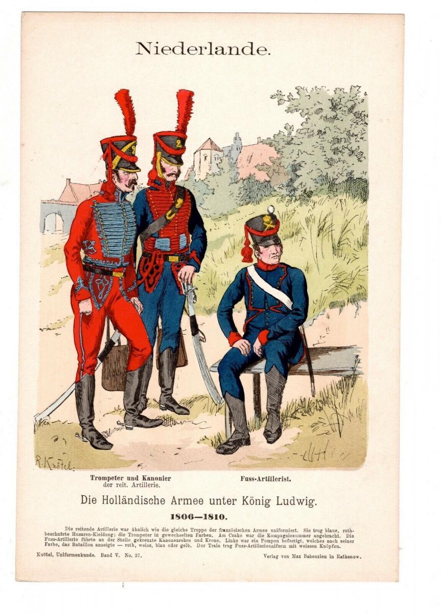 Original Grafik Knötel Uniformkunde Niederlande Holländische Armee 1806 Uniform 0