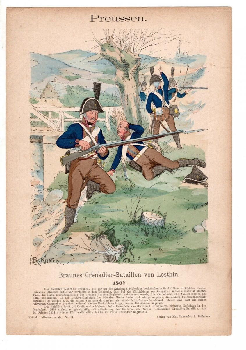 Original Grafik Knötel Uniformkunde Preussen Grenadier Bataillon Losthin 1807 0