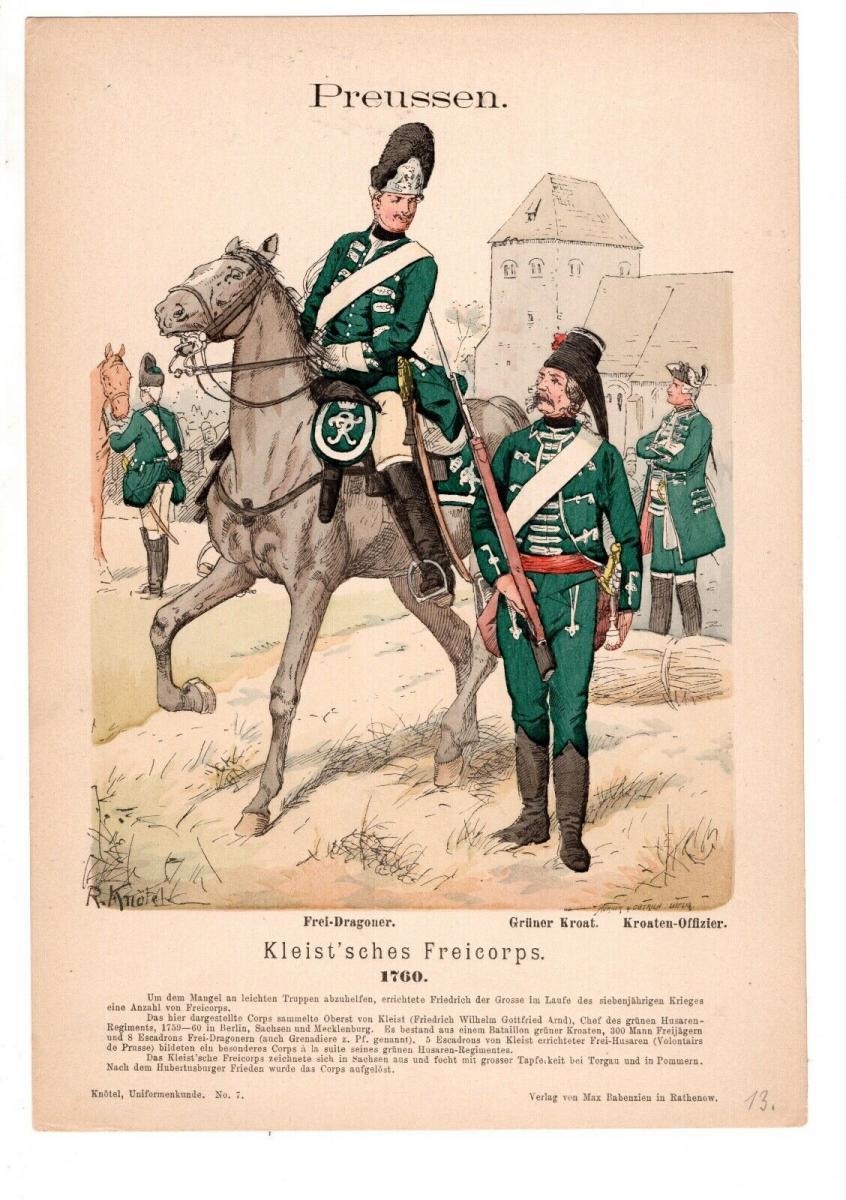 Original Grafik Knötel Uniformkunde Preussen Kleist´sches Freicorps 1700 Uniform 0