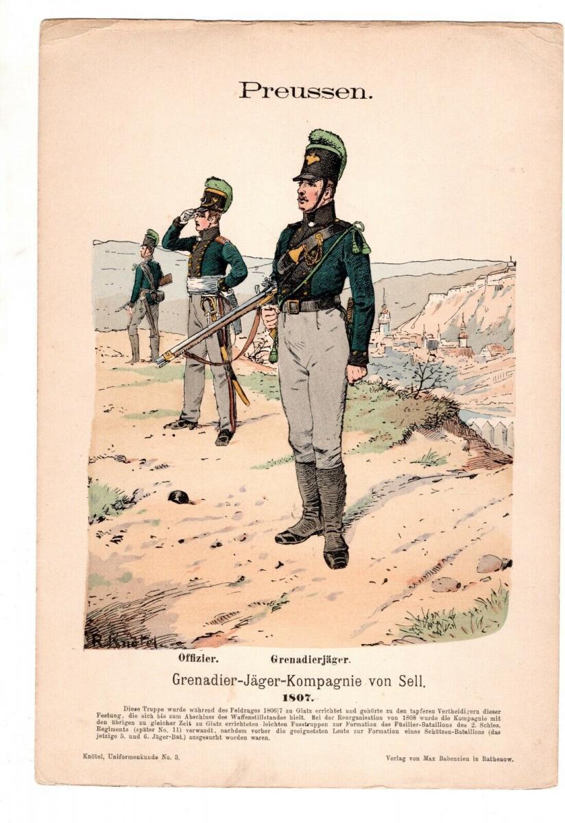 Original Grafik Knötel Uniformkunde Preussen Grenadier Jäger Kompanie von Sell 0