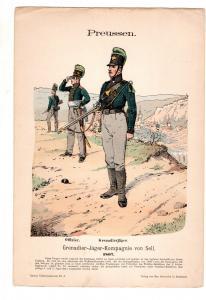 Original Grafik Knötel Uniformkunde Preussen Grenadier Jäger Kompanie von Sell