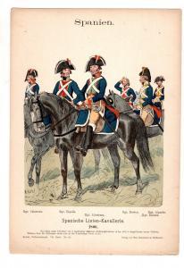 Original Grafik Knötel Uniformkunde Spanien Linien Kavallerie 1806 Uniform