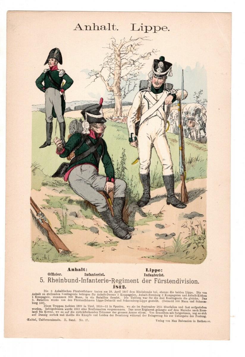 Original Grafik Knötel Uniformkunde Anhalt Lippe Rheinbund Uniform 1812 0