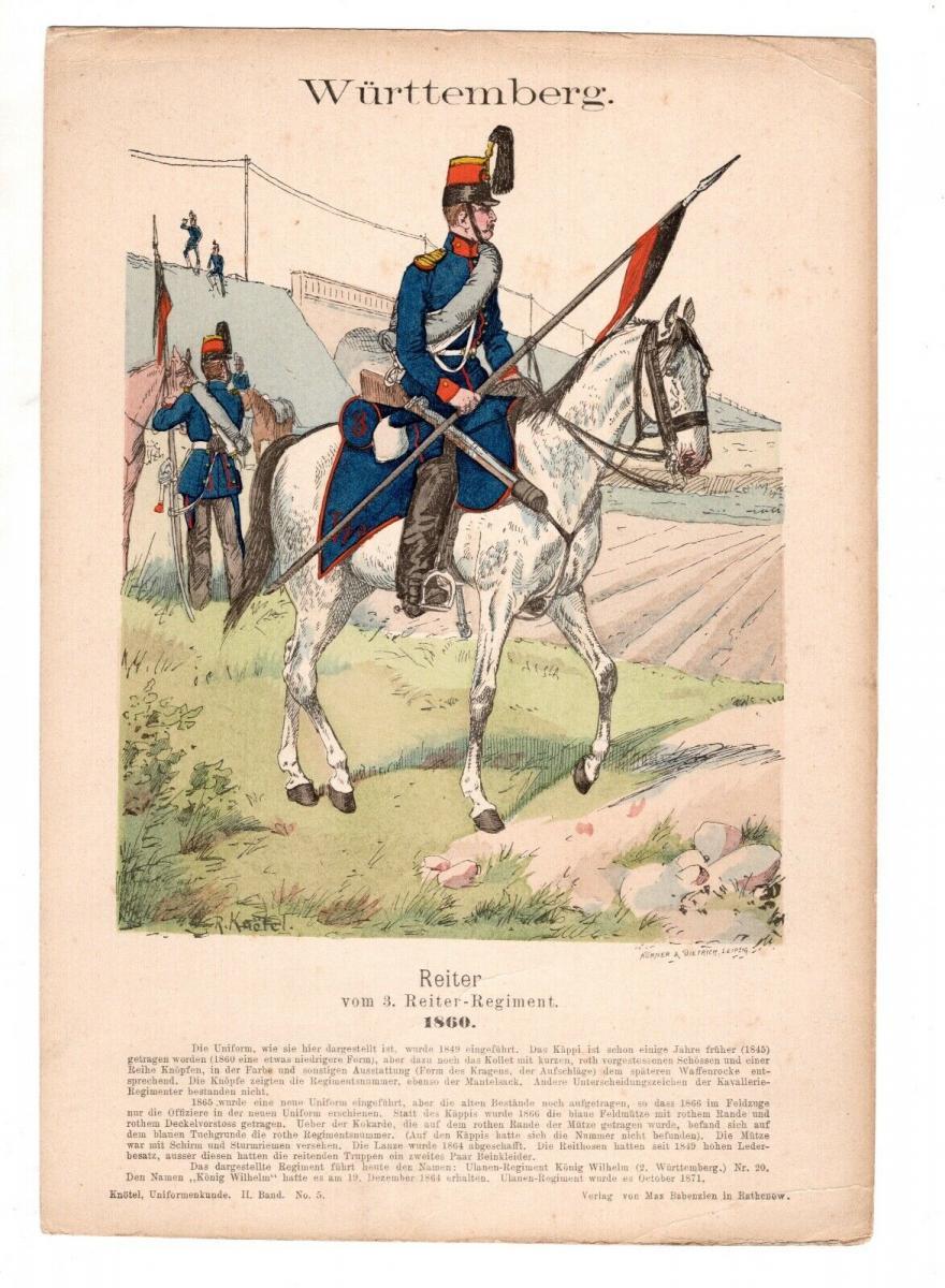 Original Grafik Knötel Uniformkunde Württemberg Reiter Regiment 1860 Deutschland 0