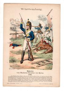 Original Grafik Knötel Uniformkunde Württemberg Musketier Bataillon von Mylius