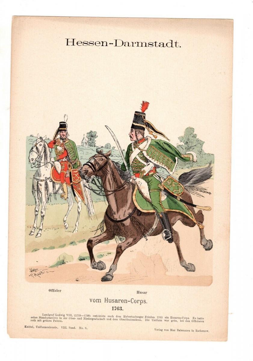 Original Grafik Knötel Uniformkunde Deutschland Hessen - Darmstadt Husaren 1763 0