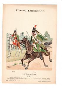 Original Grafik Knötel Uniformkunde Deutschland Hessen - Darmstadt Husaren 1763