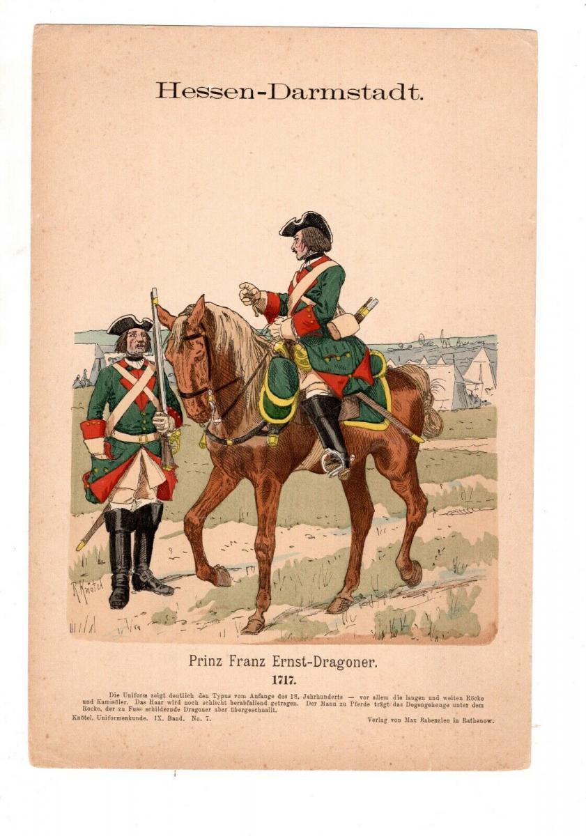 Original Grafik Knötel Uniformkunde Deutschland Hessen - Darmstadt Dragoner 1717 0