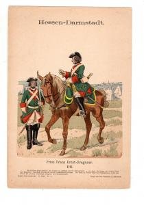 Original Grafik Knötel Uniformkunde Deutschland Hessen - Darmstadt Dragoner 1717