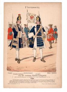 Original Grafik Knötel Uniformkunde Deutschland Preussen Füsilier Leibgarde 1708